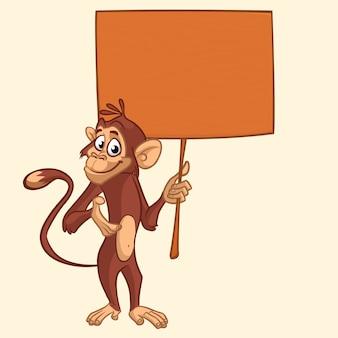 Holding van de beeldverhaal zingt de grappige aap illustratie