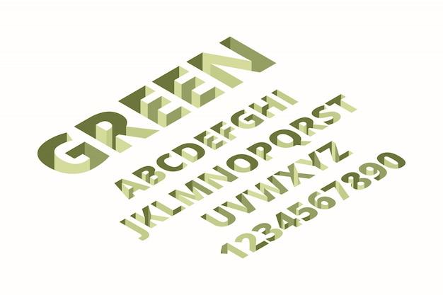Hole lettertype. alfabet isometrische techno trendy bakstenen ondertekent letters lettertype