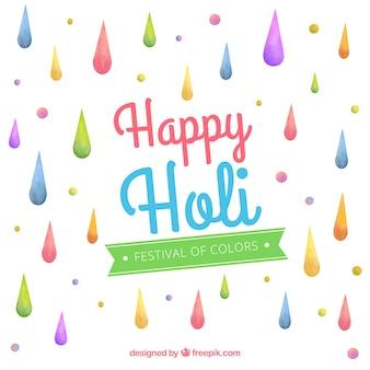 Holi-achtergrond met kleurrijke dalingen