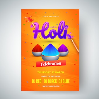 Holi celebration-sjabloon of flyerontwerp met tijd, datum en ve