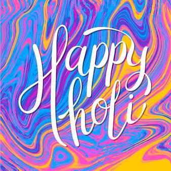 Holi festival belettering met kleurrijke achtergrond