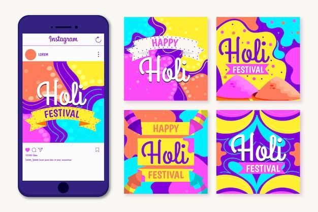 Holi festival concept voor instagram post collectie