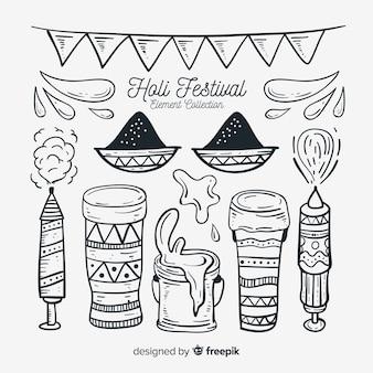 Holi festival element collectie