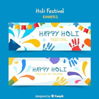 Holi festival elementen banner