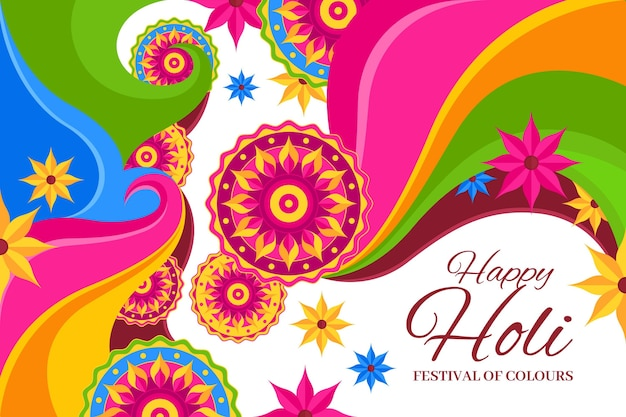Holi-festival in plat ontwerp