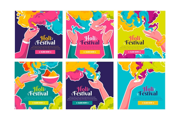 Holi festival instagram posts collectie