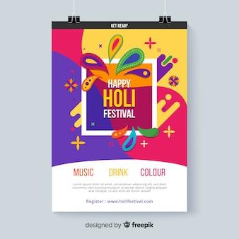 Holi festival kleurrijke poster