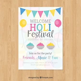 Holi festival party poster in plat ontwerp