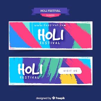 Holi festival penseelstreek banner