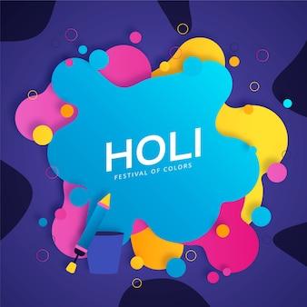 Holi festival plat ontwerp met levendig gekleurde vlekken