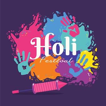 Holi festival poeder illustraties