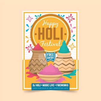Holi festival poster poster sjabloon