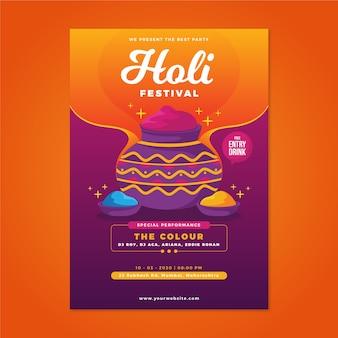 Holi festival poster sjabloon in plat ontwerp