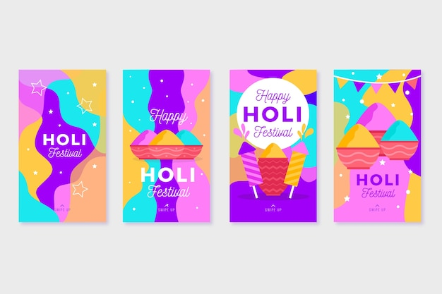 Holi-festival sociale media instagramverhalen in kleurrijke verf