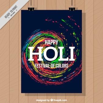Holi festival spiraal schilderij poster