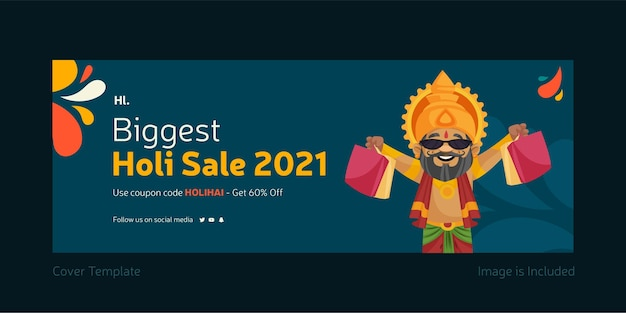 Holi festival verkoop sociale media omslagsjabloonontwerp