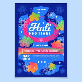 Holi festival verticale poster sjabloon