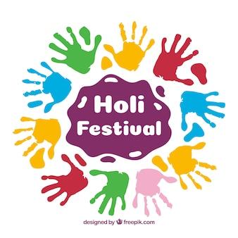 Holi-festivalachtergrond in vlak ontwerp