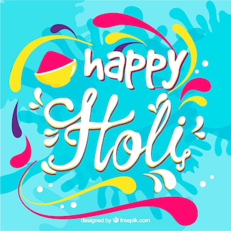 Holi-festivalachtergrond met het van letters voorzien ontwerp