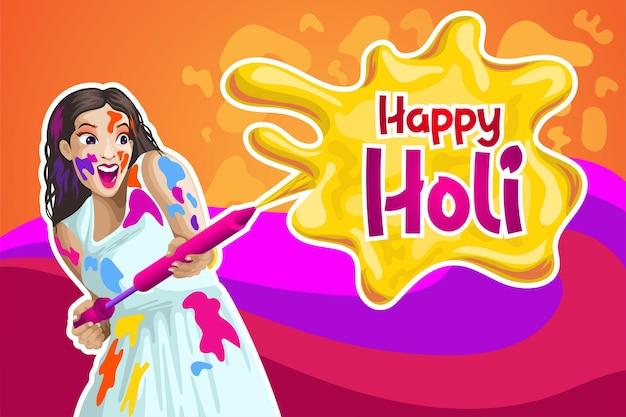 Holi-groeten met een meisjesachtige kleur