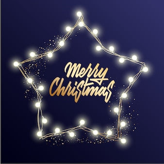 Holiday's voor merry christmas wenskaart met een lichte krans en belettering merry christmas en happy new year.