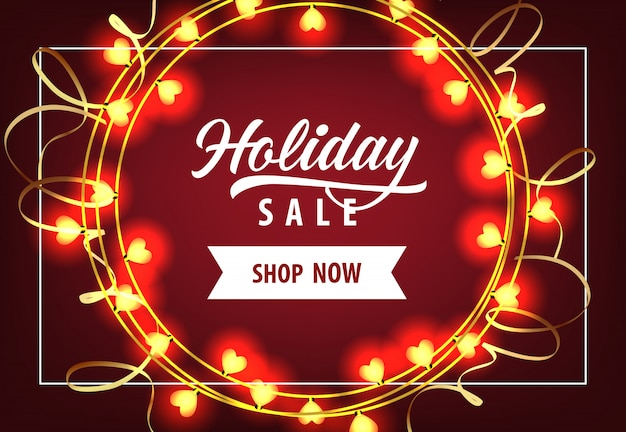 Holiday sale met lampen coupon ontwerp
