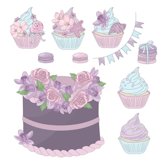 Holiday sweets dessert met bloemenverjaardag