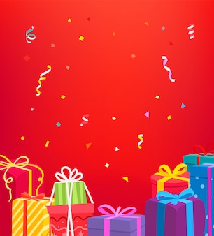Holiday wenskaart. vector concept met geschenkdozen