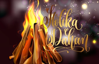 Holika Dahan-wenskaartontwerp met een realistisch vuur