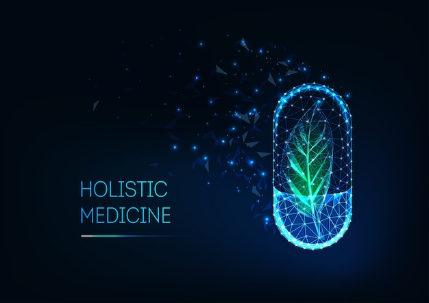 Holistic geneeskundeconcept met gloeiende futuristische lage veelhoekige capsulepil en groen blad.