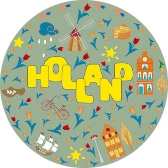 Holland reizen culturele en toeristische symbolen frame met tulpen houten klompen en windmolens