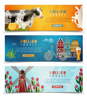 Holland travel horizontale bannersenset