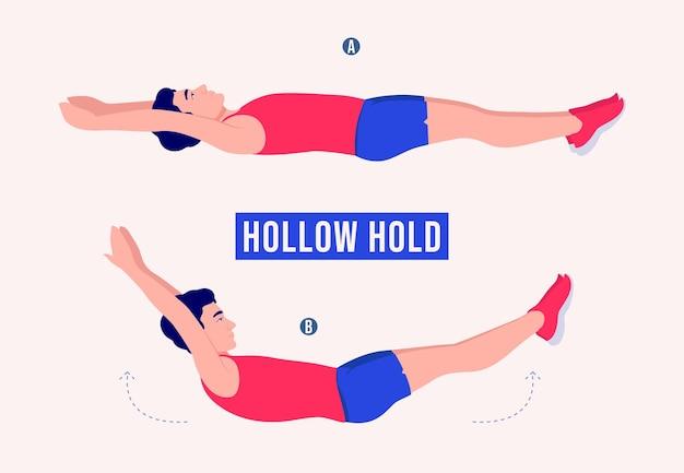 Hollow hold oefening mannen workout fitness aerobic en oefeningen