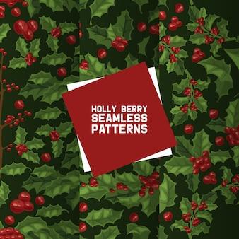 Holly bessen naadloos patroon. kerstdecoratie op kerstvakantie