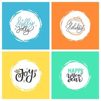 Holly jolly, happy new year holidays, joy en xmas