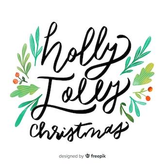 Holly vrolijke kerst belettering