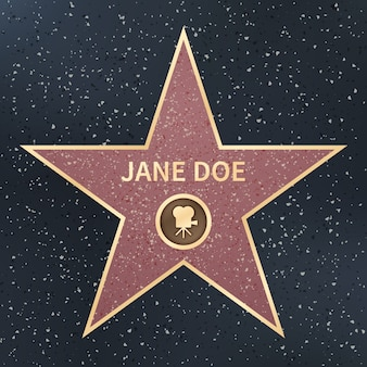 Hollywood-filmacteur beroemdheid walk of fame ster. vector illustratie