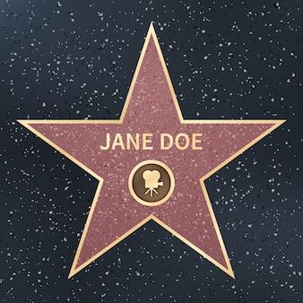 Hollywood-filmacteur beroemdheid walk of fame ster. vector illustratie