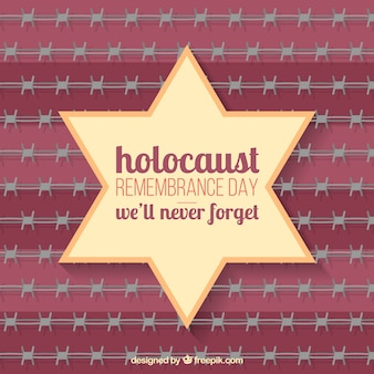 Holocaust remembrance day, ster op rode achtergrond