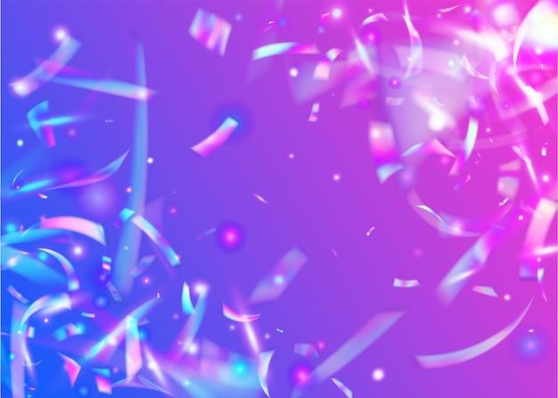 Holografisch effect. violette metalen glitter. retro abstracte serpentijn. kristal folie. bokeh-confetti. neon schittert. eenhoorn kunst. glanzend element. roze holografisch effect