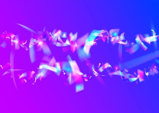 Holografische achtergrond. laser kerst serpentine. blauwe disco-glitter. glitch schittering. glamour kunst. hologram klatergoud. kristal folie. metalen flyer. paarse holografische achtergrond