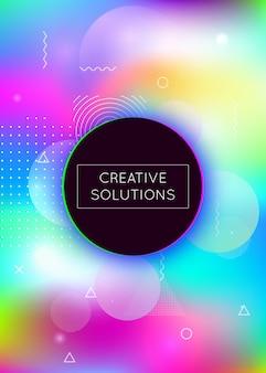 Holografische achtergrond met vloeibare vormen. dynamisch bauhaus-verloop met memphis fluid-elementen. grafische sjabloon voor brochure, banner, behang, mobiel scherm. trendy holografische achtergrond.