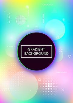 Holografische achtergrond met vloeibare vormen. dynamisch verloop met vloeibare elementen uit memphis