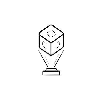 Holografische communicatie en virtuele 3d-kubus afbeelding hand getrokken schets doodle pictogram. toekomstig technologieconcept. schets vectorillustratie voor print, web, mobiel en infographics op witte achtergrond.