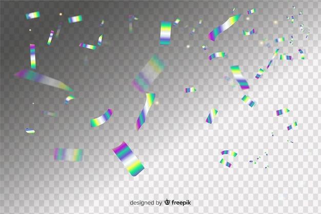 Holografische confetti effect achtergrond