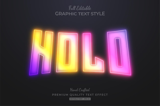 Holografische glow gradient bewerkbare teksteffect lettertypestijl