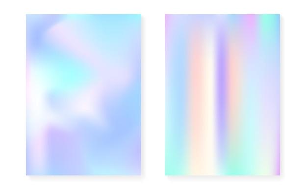 Holografische gradiëntachtergrond die met hologramdekking wordt geplaatst. retro-stijl uit de jaren 90, 80. parelmoer grafische sjabloon voor boek, jaarlijkse, mobiele interface, web-app. spectrum minimaal holografisch verloop.