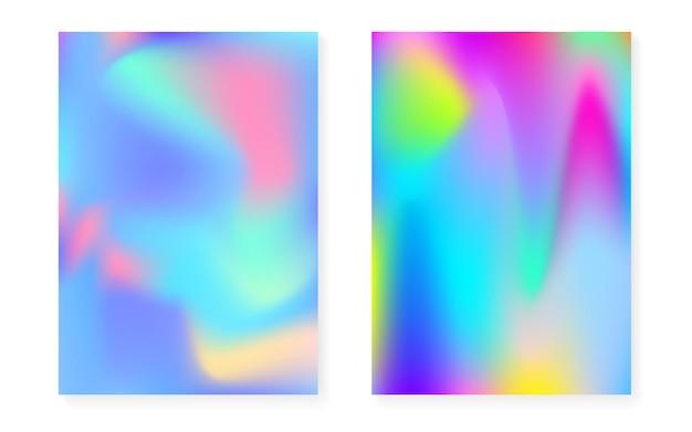 Holografische gradiëntachtergrond die met hologramdekking wordt geplaatst. retro-stijl uit de jaren 90, 80. parelmoer grafische sjabloon voor plakkaat, presentatie, banner, brochure. multicolor minimale holografische gradiënt.