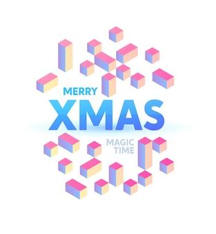 Holografische kerst geïllustreerd met lichtere hellingen. plat isometrische a4 nieuwjaar poster sjabloon.