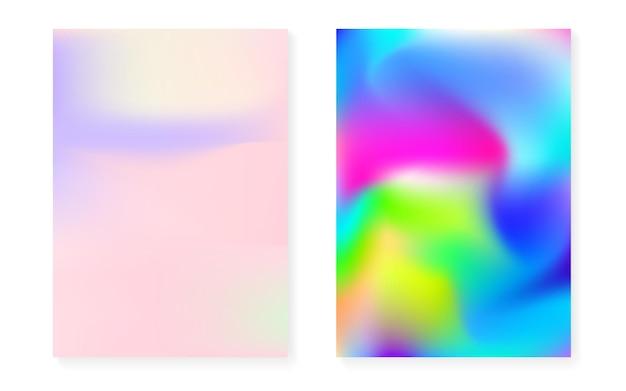 Holografische omslagset met hologramverloopachtergrond. retro-stijl uit de jaren 90, 80. iriserende grafische sjabloon voor brochure, banner, behang, mobiel scherm. levendige minimale holografische omslag.